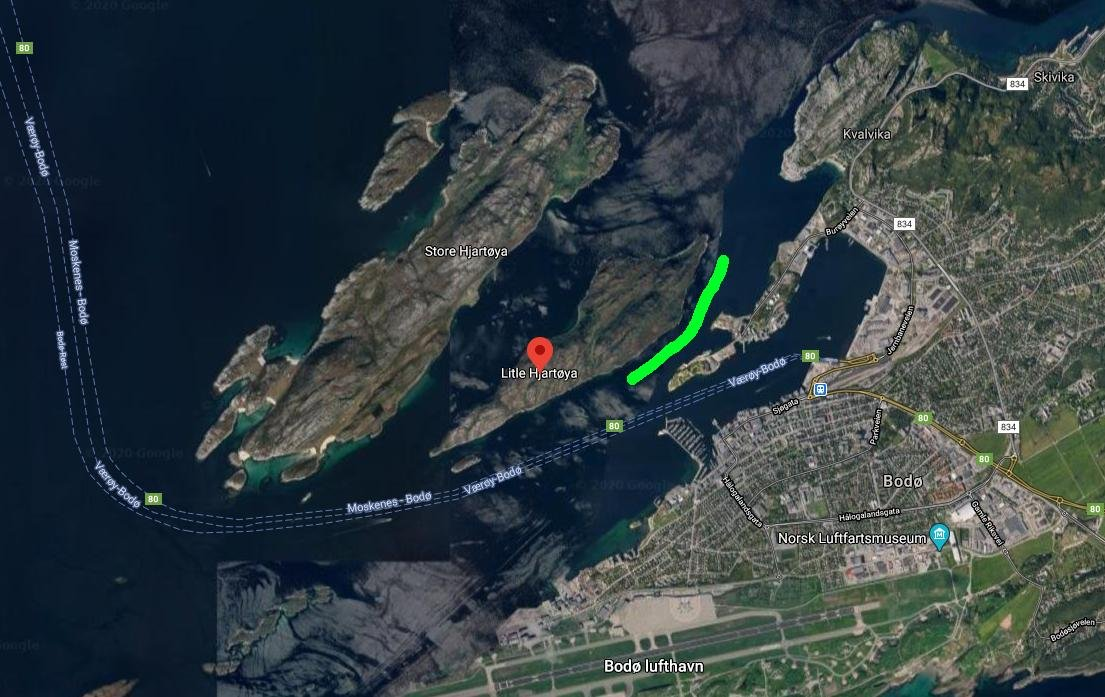 map of Bodø city and surrounding islands